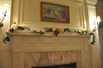 Mantle at Whitehall Manor decorated for a wedding