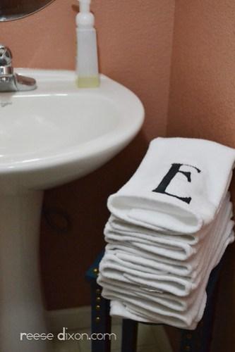 Monogrammed Bathroom Handtowels