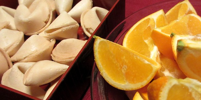 Fortune cookies and orange slices