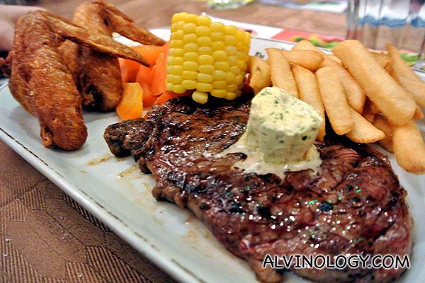 Rachel ordered their ribeye steak with chicken wings