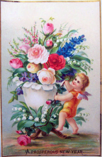 New Years Cherub with Flowers