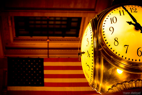 New York City (USA, United States) - Grand Central Terminal (Grand central station) - Clock and US Flag by Zeeyolq Photography