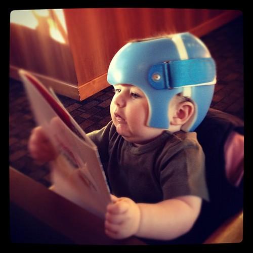 Kellan in his helmet