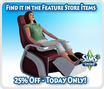 Sims 3 Holiday Calender Day 18 - 25% Off of The Sharper Sim Foot Massage Chair