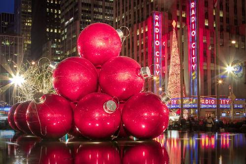 Happy Holidays from NYC: Ornaments outside the Exxon Building on 50th Street