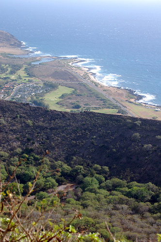 over crater rim to beach