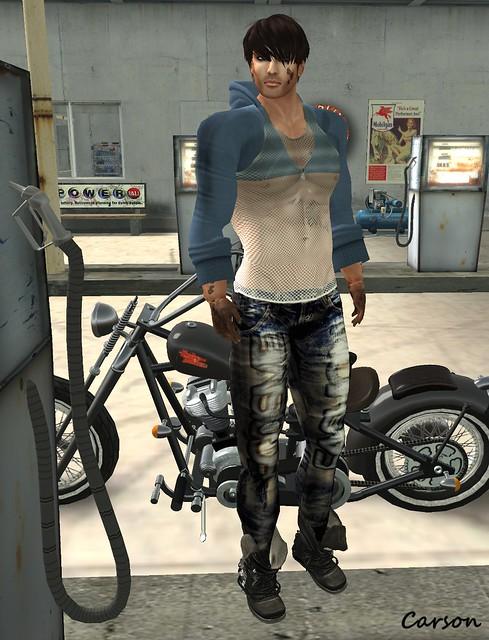 Egoisme - Ruined Jeans, Wool Hoodie and White Net Shirt