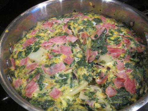 potato, ham & spinach fritatta