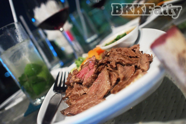 grilled beef and wine in rayong