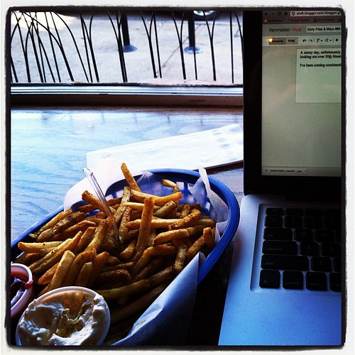 Eating and writing...