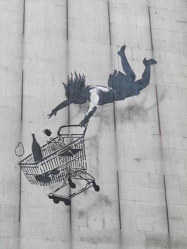 """""""Falling Shopper"""" by Banksy"""