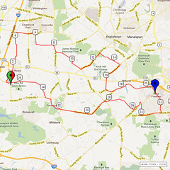 07. Bike Route Map. Etra Lake Park, Hightstown, NJ
