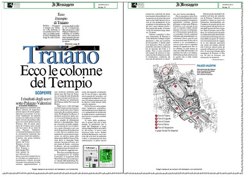ROME - The Temple of Trajan: Hadrian's dedicate the temple to his Predecessors. New Evidence below the Palazzo Valentini. Il Messaggero (30/11/20110), p. 1 & 25. [PDF pp. 1-3]. by Martin G. Conde