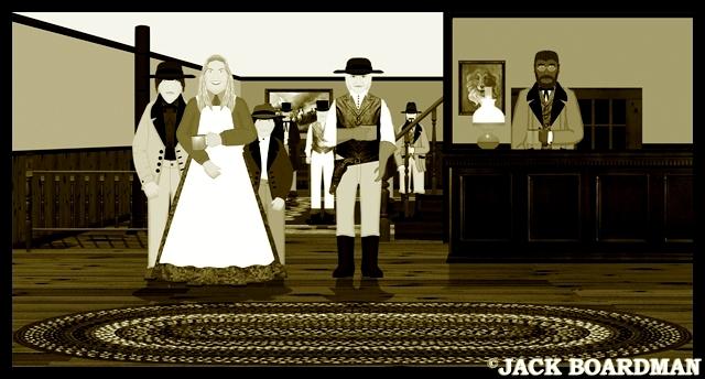 Doc Shouse & Mrs Miller in the hotel lobby ©2012 Jack Boardman