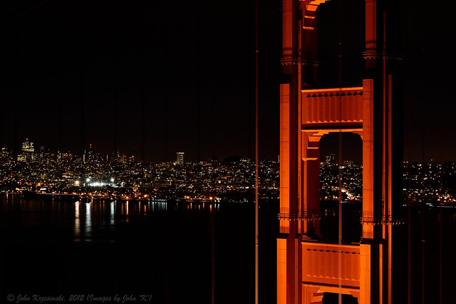 The Golden Gate Bridge at night