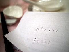 Mathematical equations expressing grooms thoughts on wedding/marriage