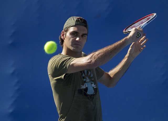 Roger Federer Practice Session Day 7 Australian Open 2012
