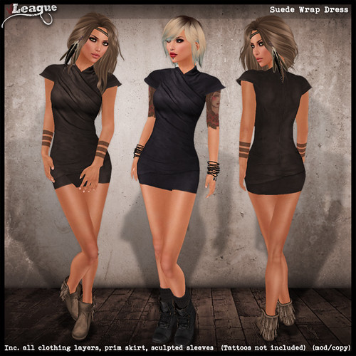 *League* Suede Wrap Dress