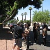 Witnesses of raid including Dennis Gilman, Emilio Ruiz, Annette Sexton Ruiz, Lydia Guzman.  Dennis is being interviewed by Omadelle Nelson of Phoenix CBS affiliate.