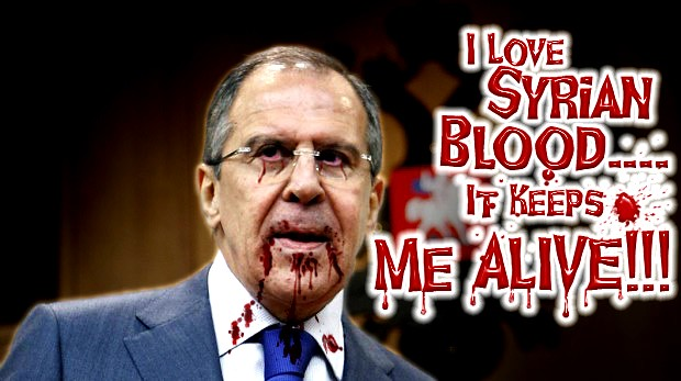 Sergy Lavrov Sucking Syrians Blood with Russia's Weapon/Arm Deals