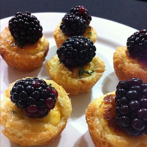 Savory blackberry custard tarts by @cookbookrick at #driscollsmoments