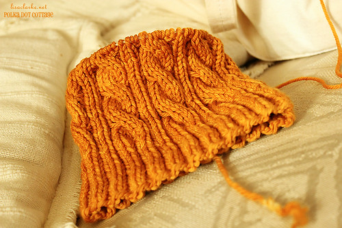 Cabled hat in progress for Son #2