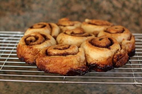 cinnamon rolls, freshly baked