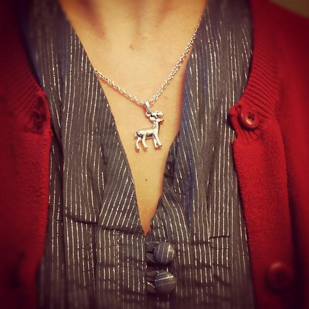 Tiny reindeer necklace today.