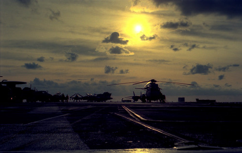 Sea King (HS-12/Wyverns) on the flight deck of CV-62
