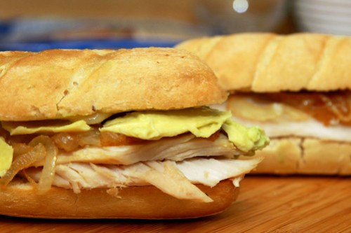 2 Sweet Caramelized Onion Turkey Baguette Sandwiches