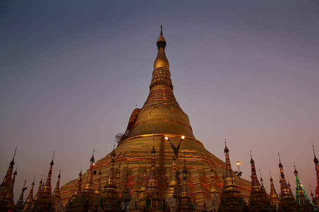 Swedagon Pagoda at sunset