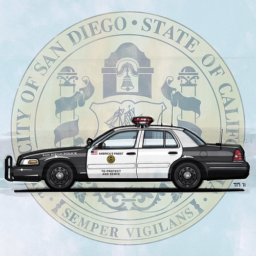 Illustration of San Diego Police Department Ford Crown Victoria Police Interceptor In Front Of The Seal Of The City Of San Diego, California (c)Tom Mayer, All Rights Reserved