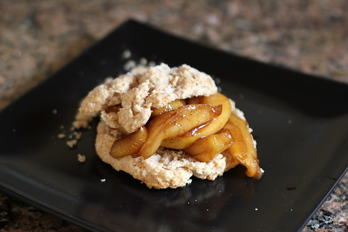 whole wheat drop biscuit with caramelized apples