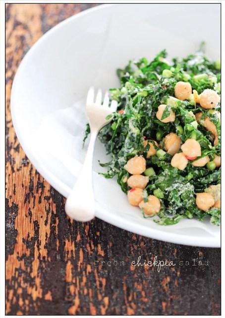 green chickpea salad