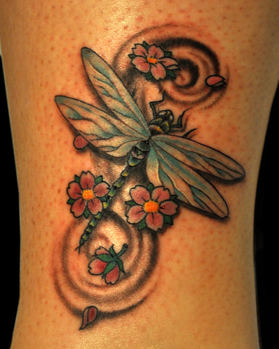 Dragonfly and cherry blossoms by Chris Adams  by UndertheNeedle