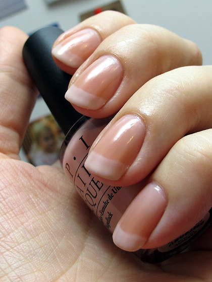 French Manicure with OPI Passion & OPI Funny Bunny