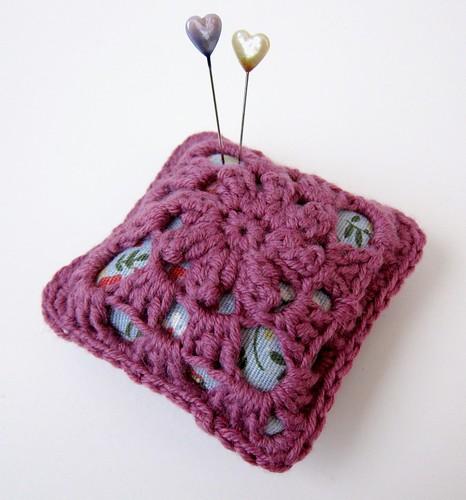 Crochet and linen pincushion