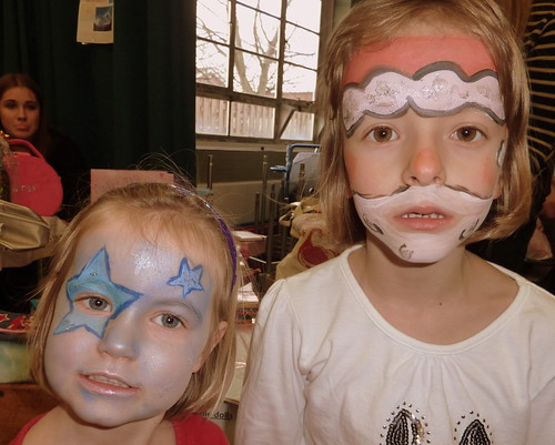 Amber and Millie with faces painted