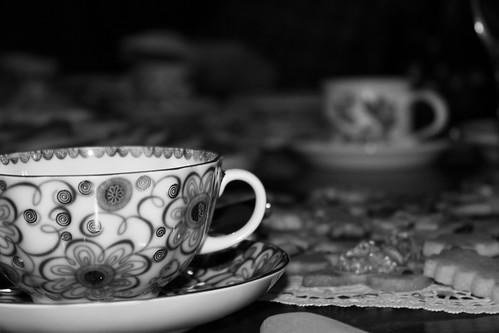 Russian teacup b&w