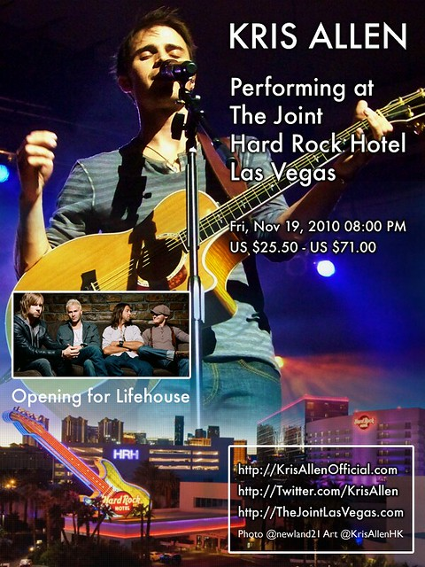 Kris Allen Promo Art - The Joint, Hard Rock Hotel, Las Vegas