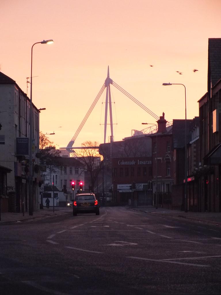 Millennium Stadium at sunrise