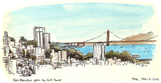 the golden gate bridge, from telegraph hill
