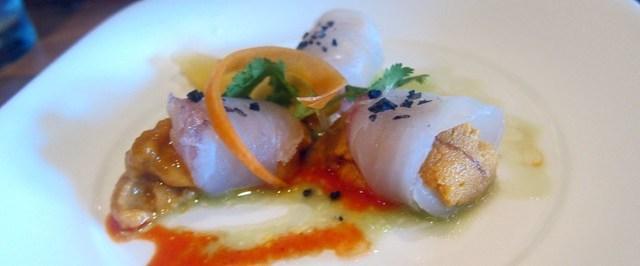 uni and halibut sashimi at matsuhisa