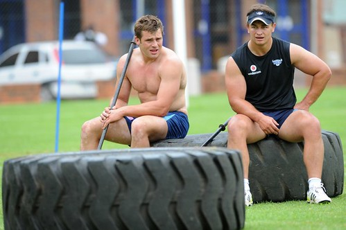 Deon Stegmann and CJ Stander take a break.