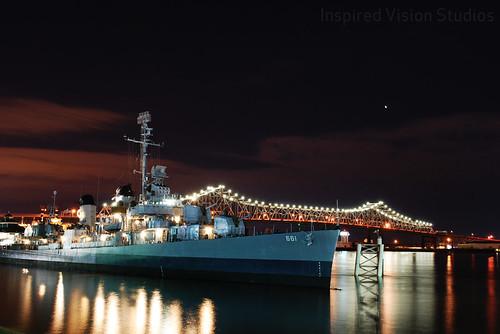 USS KIDD at Night