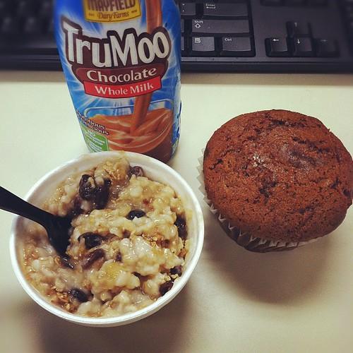 Breakfast - oatmeal, morning glory muffin and chocolate milk