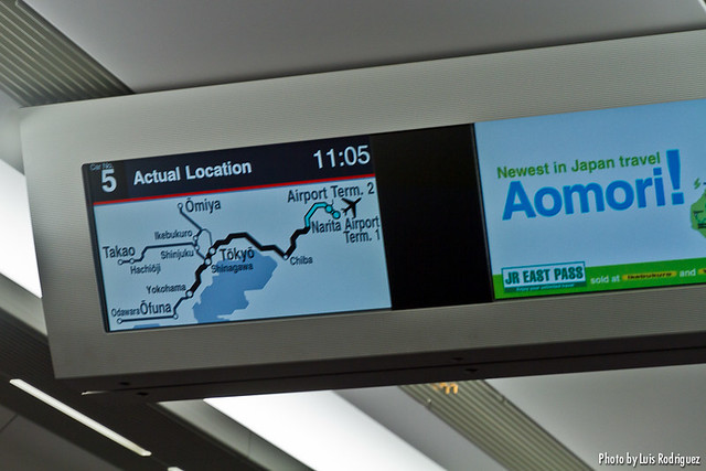 Pantallas de información del Narita Express