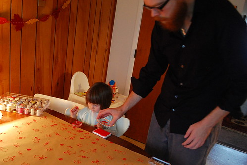 Stamping our wrapping paper.