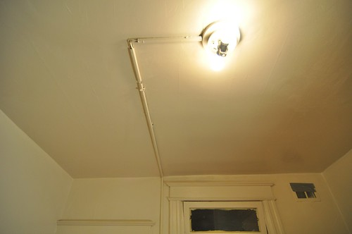 The ceiling wiring conduit before