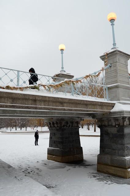Crossing the pond bridge, Public Garden